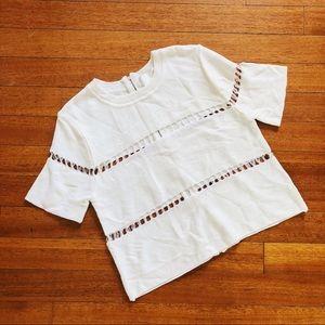 J.O.A. White Distressed Hole Sweater Top Zipper M